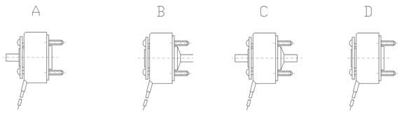 A:转矩输出在衔铁一侧   B:转矩输出在基底一侧    C:转矩双向输出     D:以衔铁输出转距 4、旋转角度,旋转方向和轴向位移:   RST系列弹子转角电磁铁型号与旋转角度及轴向位移之间的对应关系及旋转方向的表示如表1所示。